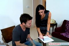 Stockinged India Summer gets facialized