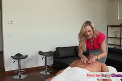 Bigboobed milf masseuse fucks dude with stepdaughter