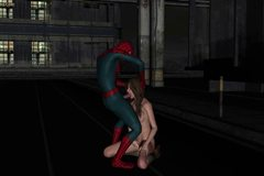 Animated Spiderman giving oral