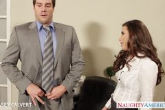 Stockinged Casey Calvert riding cock