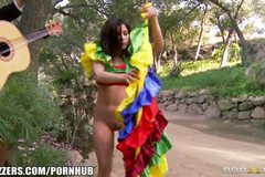 Beautiful Latina bombshell helps celebrate cinco de sexo