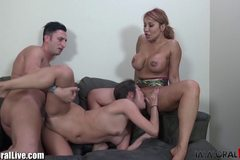 Latina MILF teaching petite asian to fuck!