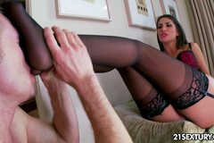 August Ames in stockings