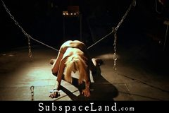 Helplesly enslaved readhed pussy spread for bondage vibes