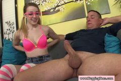 Petite tugging teen cutie with natural tits