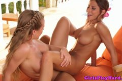 Madison Ivy and Nicole Aniston scissor outdoors