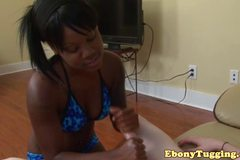 POV wank fun with amateur black bikini teen