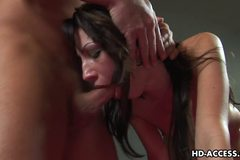 Enticing gal Chloe Morgan munches a big hard wiener