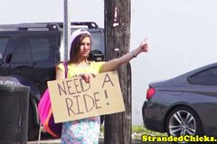 Real hitchhiking amateur pays the free ride with bj