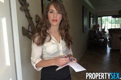 Stunning realtor flirts with her client and fucks him on camera