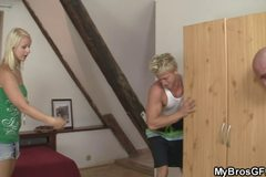 European blonde jumps at his cock as her BF gone