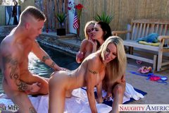 Sexy wives Emma Strarr, Jessica Jaymes and Nikki Benz sharing cock