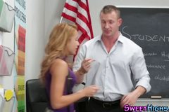 Schoolgirl fucks teacher