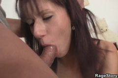 Brunette chick takes brutal blowjob and fucking