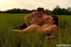 Sex with a brunette in a wide field