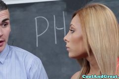 Young sportsbabe fucked and facialized in classroom