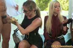 Nasty cfnm femdom Britney Amber up close