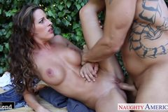 Busty brunette Kortney Kane fuck outdoors