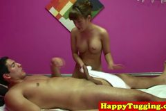 Real asian masseuse toys with her customers dick