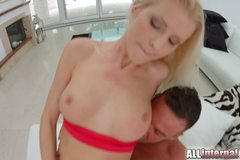 Blonde rides dick and is filled with spunk