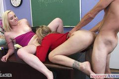 Lusty sex teacher Julia Ann share with coed Miley May dick