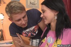 Lovely brunette cheats with her BF's bro