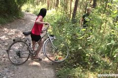 Sexy brunette biker girl Terry gives blowjob and gets fucked in the woods