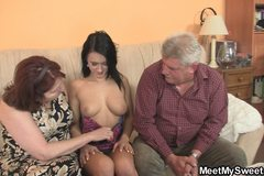 Innocent girl is seduceed by granny and fucked