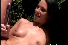 Young busty Carmen toy a lesbian's pussy