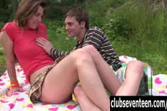Teen Bella gets little pussy fucked and jizzed outdoors