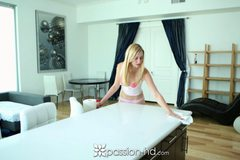 Alexa Grace is cleaning the house in panties and bra