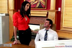 Busty brunette Dava Foxx gets it in the office