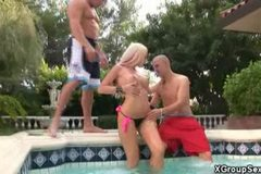 Poolside Threesome Fucking