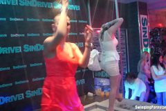 Party lesbians dancing erotically