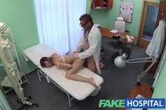 Doctor works his skills to remove sex toy from a tight pussy