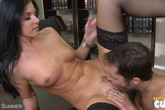 Sexy MILF In Stockings Gets Face DRENCHED In Cum!