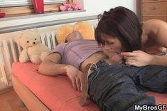 Horny czech brunette enjoys riding new cock!