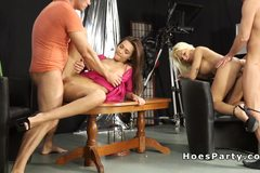 Group sex party in tv studio