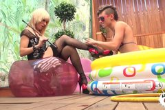 Hot Spanish Lesbians in the pool
