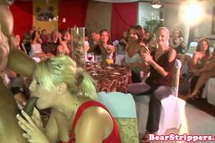 Real interracial CFNM blowjob party with blond
