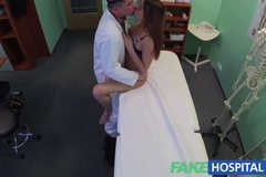Beautiful brunettes wet pussy gets doctors cock on the examining table
