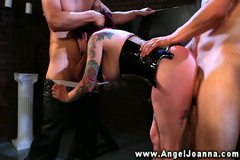 Angel Joanna blows two guys for her freedom in their dungeon