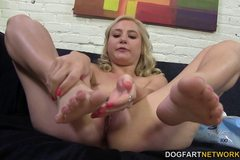 Odette Delacroix rubs big black cock with her feet