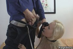 Blonde bitch takes rough throat and pussy banging