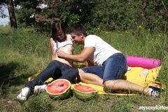 Brunette teen Tamara gets fucked outdoors