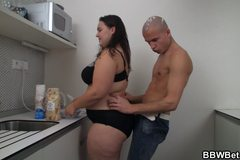 Hot bbw sex at the kitchen