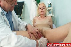 Skinny hirsute granny woman doctor treatment