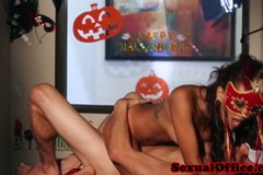 Petite office teen gets fucked at halloween
