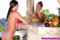 Beautiful outdoor lesbians rim and lick pussy