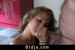 Naughty bunny babe and pervert old guy gets wild in sex
